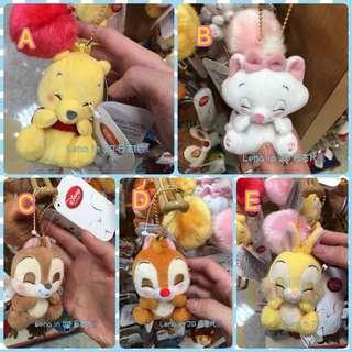 日本 東京迪士尼 瞇瞇眼毛球珠鍊吊飾 維尼 瑪莉貓 邦尼兔 奇奇 蒂蒂