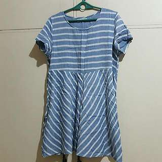 Blue Stripes Dress Short Sleeves