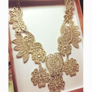 歐美時尚 巴洛克鏤空 金緻奢華 禮服 項鍊