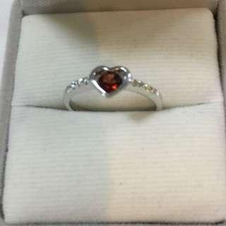 Silver Ring Garnet & Cubic Zirconia