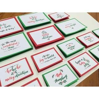 Festive Brush Lettered Christmas Cards