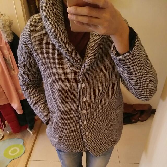 千鳥格日式風高領鋪棉外套