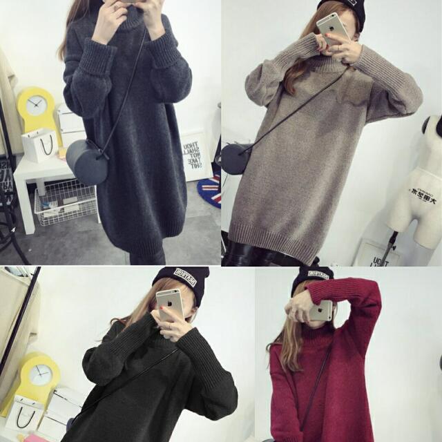 加大尺碼韓版長版寬鬆加厚毛衣套頭針織衫