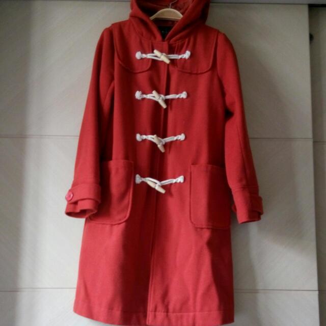 日本製橘紅色木扣大衣