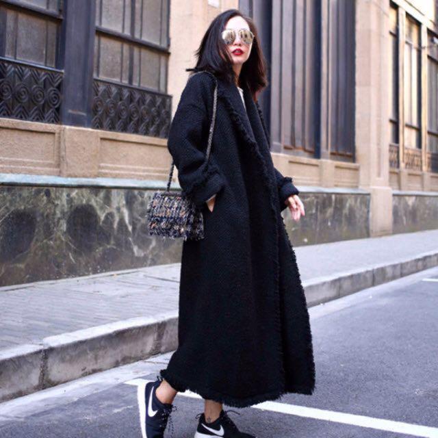 [全新私物]降!小香毛呢風黑色長大衣 附腰帶