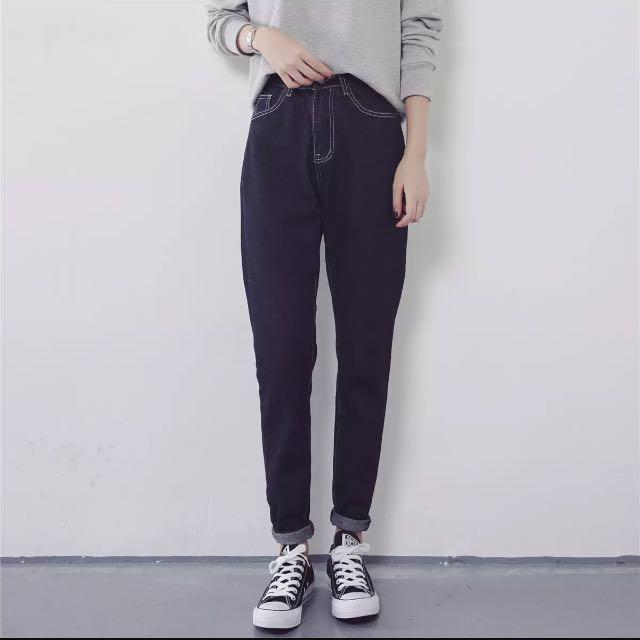 高腰顯瘦寬鬆牛仔褲 哈倫褲 黑