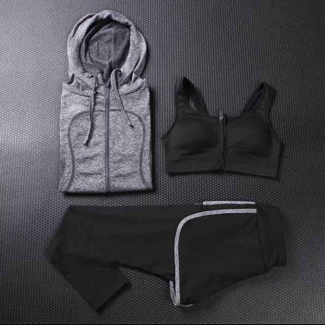 秋冬瑜珈服三件組 健身跑步運動衣 束胸外套 長褲長袖2套