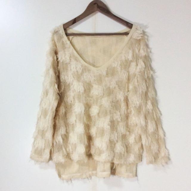 韓國購入 毛毛鬚鬚金蔥溫柔上衣 韓國上衣 簍空上衣 over size上衣 香奈兒 chanel風格