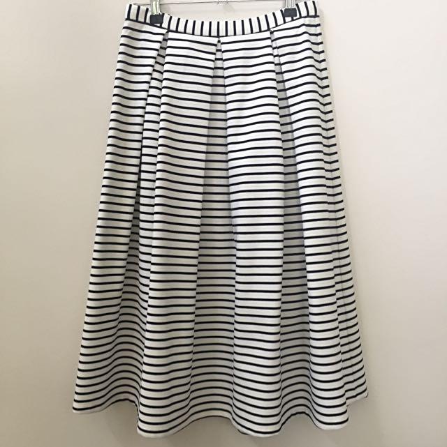 AU8 Forever New A-line Striped Ponte Skirt
