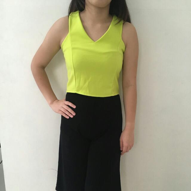 Baju Pakaian Atasan Crop Wanita Import Bangkok Neon Top Tops