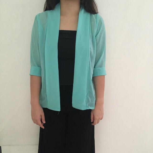 Baju Pakaian Atasan Wanita Outer Hijau Tosca Import Bangkok