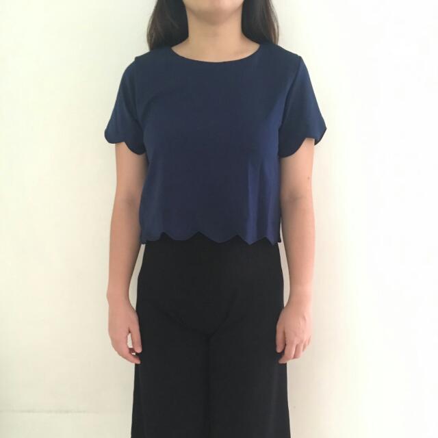 Baju Pakaian Wanita Crop Top Bahan Tebal Bagus Import Bangkok Biru Blue Navy Scallop