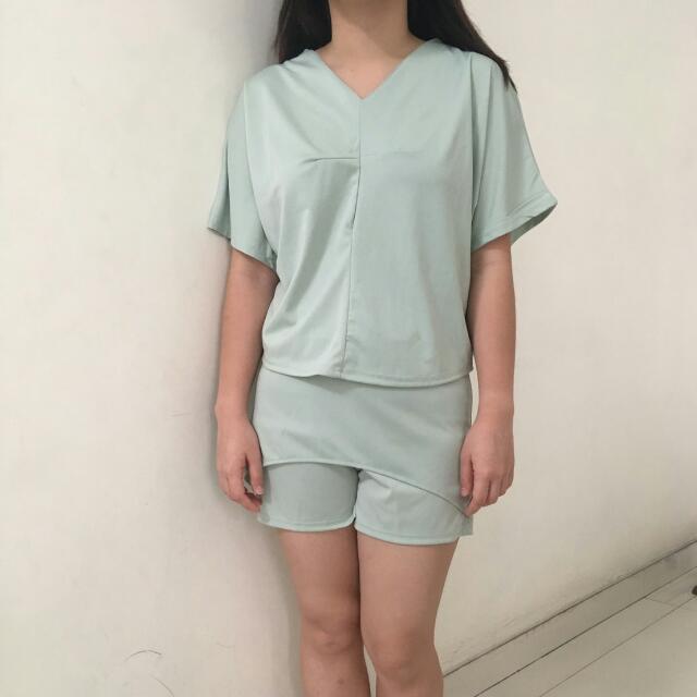 Baju Pakaian Wanita Top Set Celana Atasan Biru Tosca Import Bangkok Pants