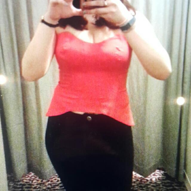 Bardot Red Corset Bustier