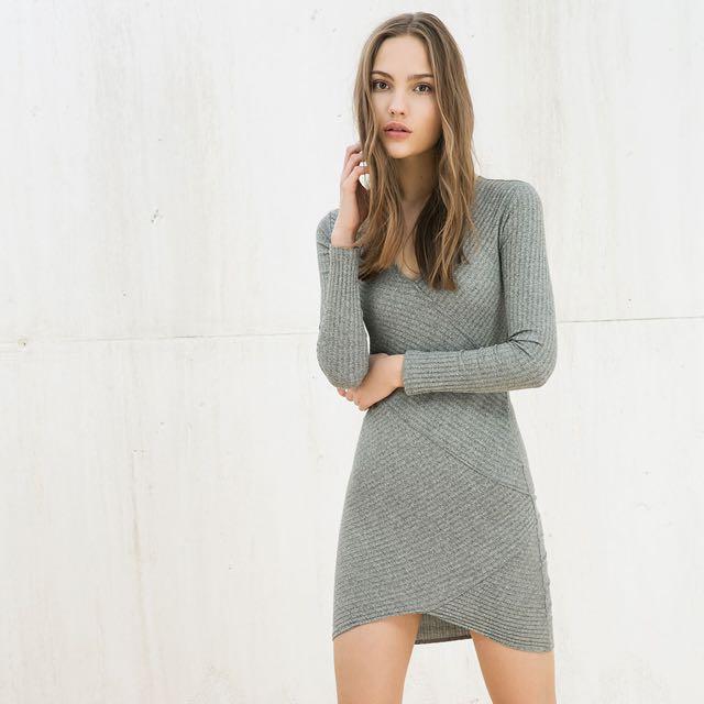 df690f2d2262 Bershka Grey Knit Asymmetric Dress