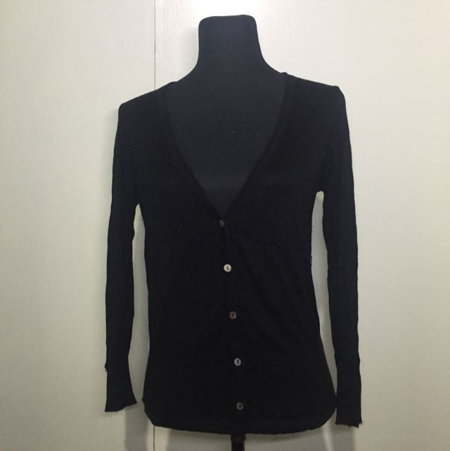 Black Cardigan With Lace At The Back