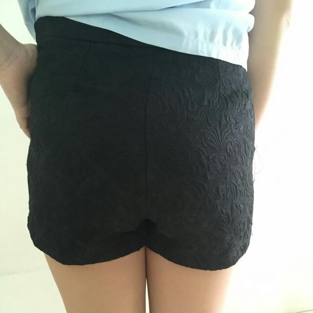Celana Pendek Bawahan Shorts Lace Motif Black Hitam Import Bangkok