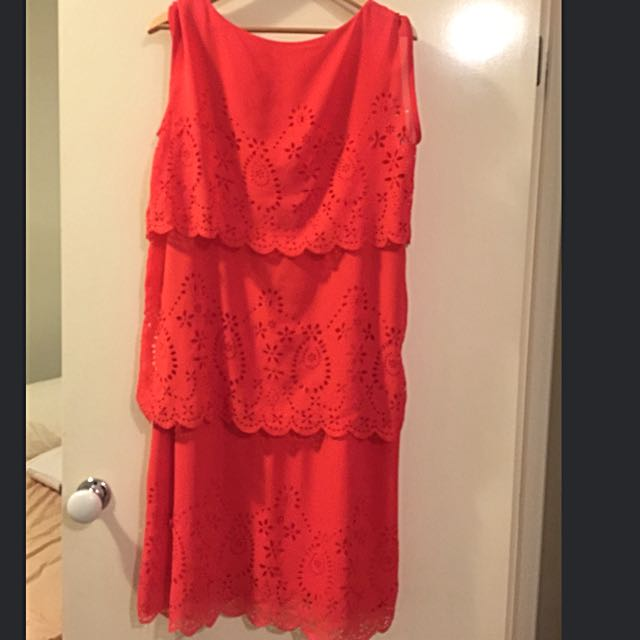 Coral scalloped Spring To summer Dress!