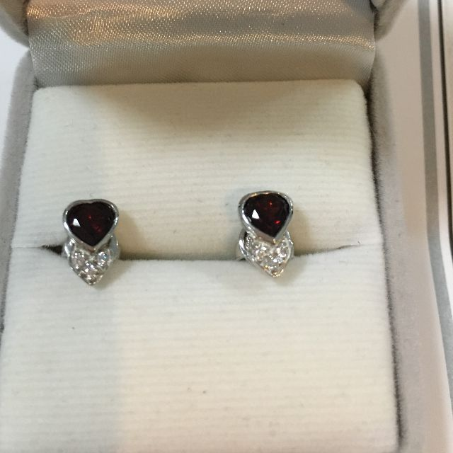 Silver Garnet And Cubic Zirconia Earrings