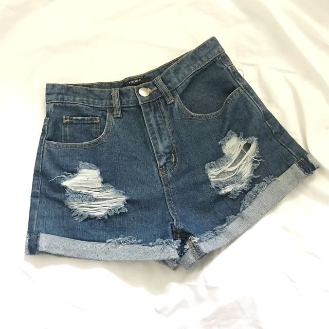 Forever 21 Ripped Denim Shorts