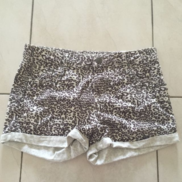 Glassons Leopard Print Denim Shorts
