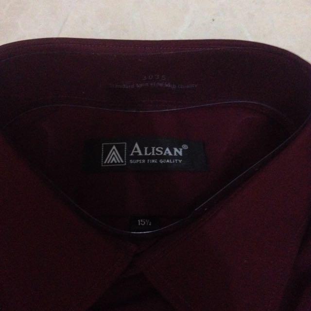 jumbo blouse Source · Kemeja kerja merah marun .