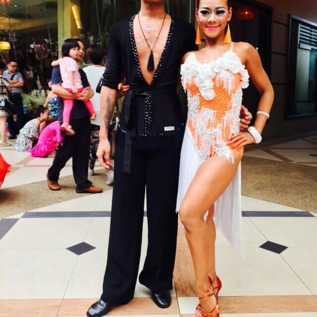 Latin Dance Dress orange white