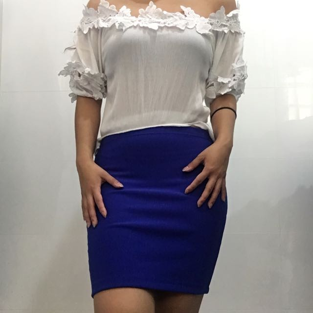 Midnight Blue Fitted Ribbed Skirt