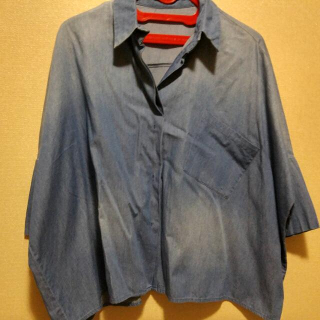 Oversized Denim Jeans Shirt