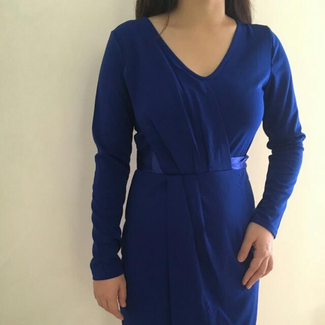 Pakaian Dress Pesta Wanita Blue Biru Formal Import Bangkok