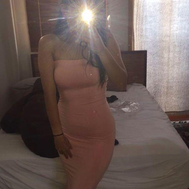 Peach Pink Bodycon Midi Dress