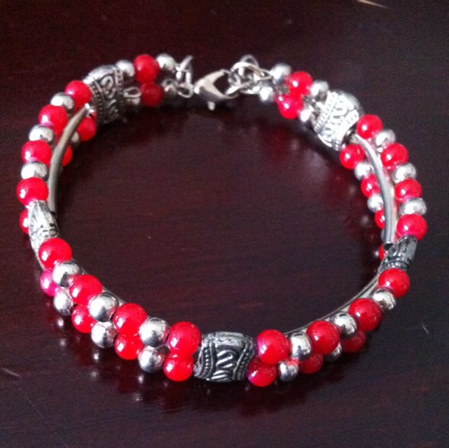 Red Glass Bead Necklace And Bracelet