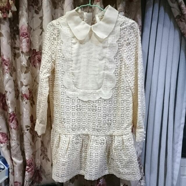 Ruby 露比 午茶 珍珠 鏤空 刺繡 長袖 娃娃領 洋裝