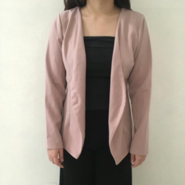 Semi Blazer Wanita Casual Outer Pink Import Office Pakaian Baju