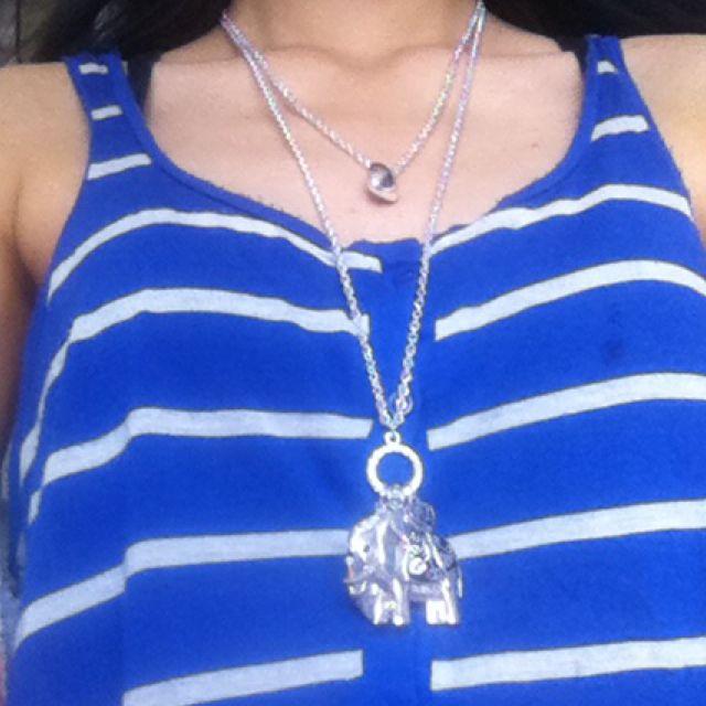 Silver Elephant Charm Double Chain Collette Hayman Necklace