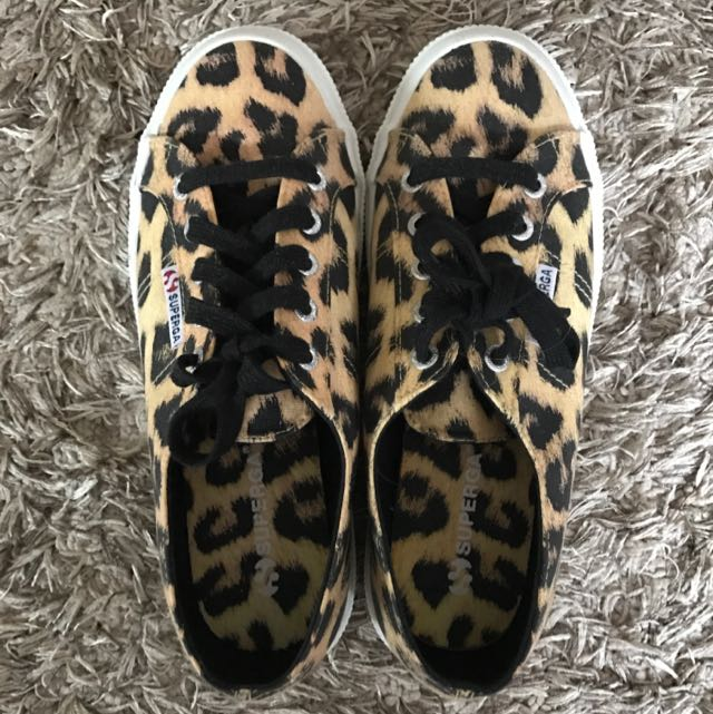 Superga Size 38 Leopard Canvas Trainers