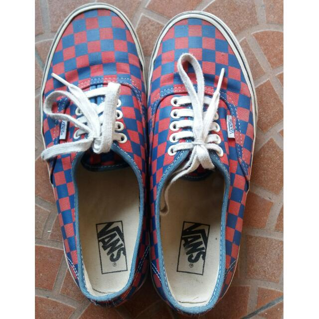 Vans Authentic Checker Board Gold Coast Blue/Red