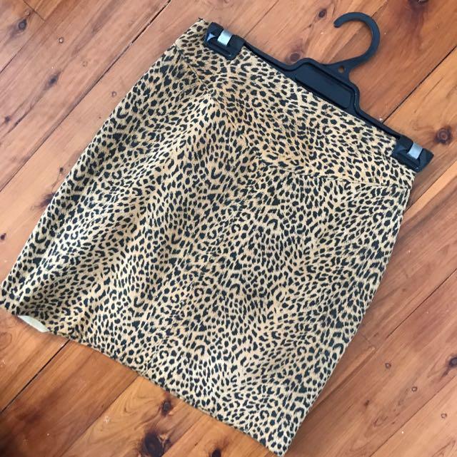 Vintage Suede Leopard Skirt