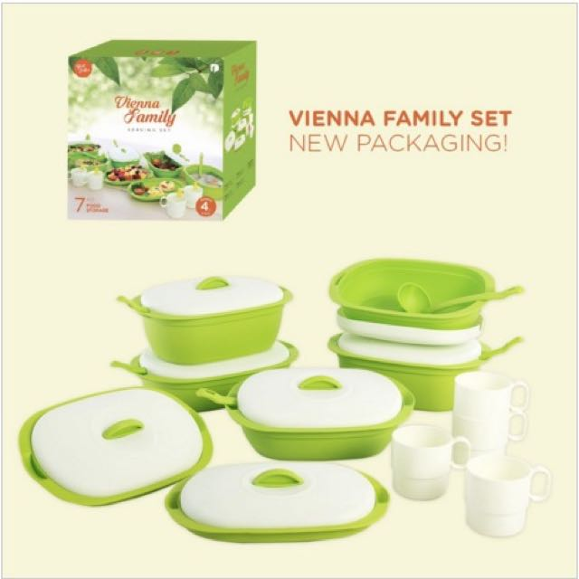 Wadah Saji I Serving Set Green Leaf Vienna Family Set