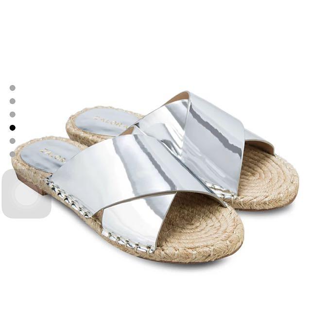 Zalora Cross Strap Chrome Sandals