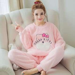 [K-501]甜心kitty新款珊瑚絨軟綿綿睡衣 保暖推薦