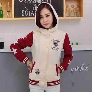 [K-502]韓版扣式少女風連帽加絨星星休閒外套 2色