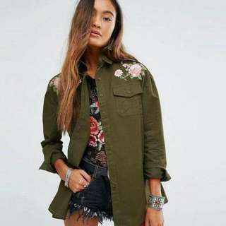 Embroidered Army Green Button Down Jacket