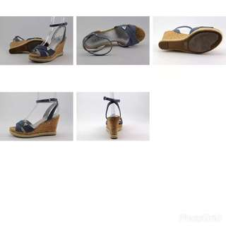Guess Madolyn 3 Women US 6 Blue Wedge Sandal Pre Owned