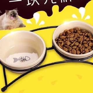 伊麗鐵架陶瓷寵物碗 水碗食碗食盆貓碗狗貓盆狗碗陶瓷食盆雙碗