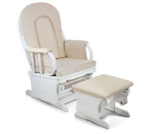 Baby Breast Feeding Sliding Glider Chair w/ Ottoman White Beige
