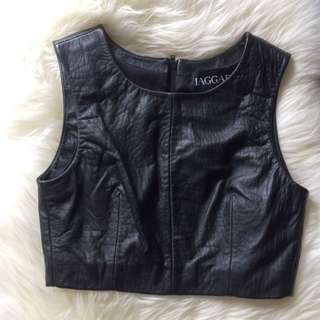 Jagger Flash Crop Top Pebbled Leather