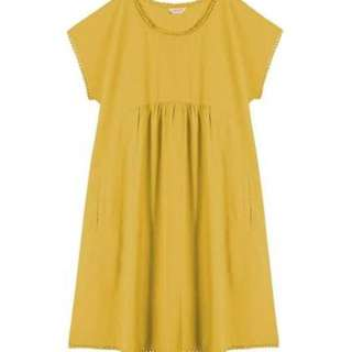 GORMAN MUSTARD LINEN COTTON BUNGALOW DRESS S