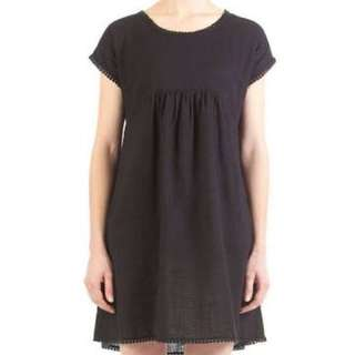 GORMAN BLACK BUNGALOW DRESS COTTON LINEN SIZE SMALL