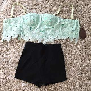 Summer Crop Top Bralet Bustier Lace Top High Waisted Shorts Size 6 Xs